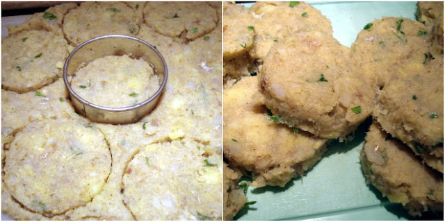 roll out the fish cake dough and cut out rounds