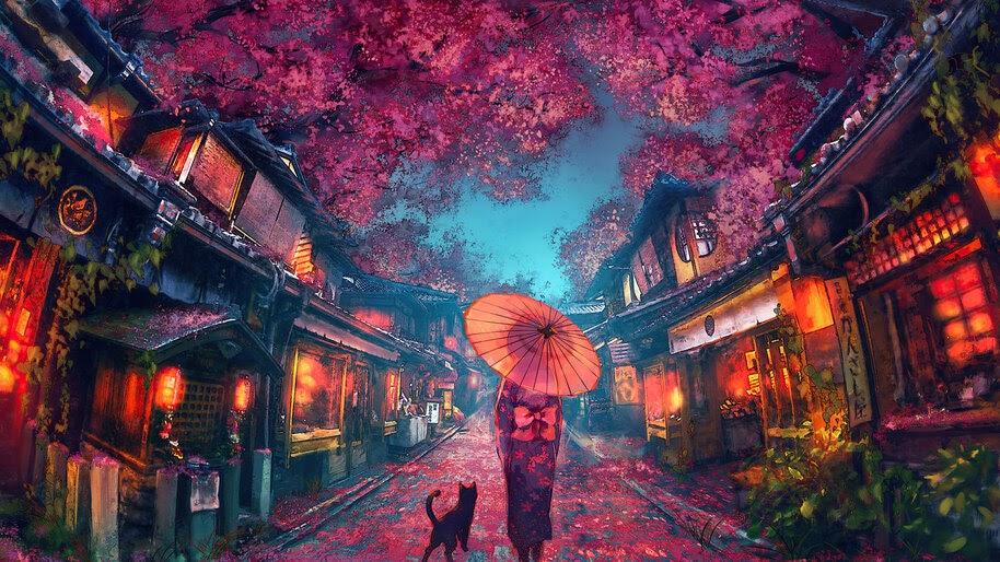 Beautiful, Anime, Street, Scenery, Cherry Blossom, Kimono, 4K, #6.1621