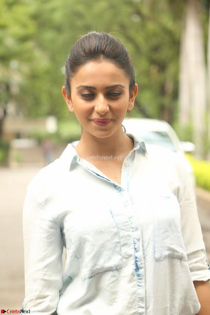 Rakul Preet Singh in Jeans and White Shirt At Jaya Janaki Nayaka le Logo Launch ~  Exclusive 004.JPG