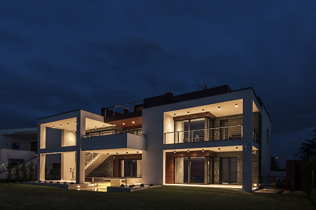 Lake Side Duplex House at night