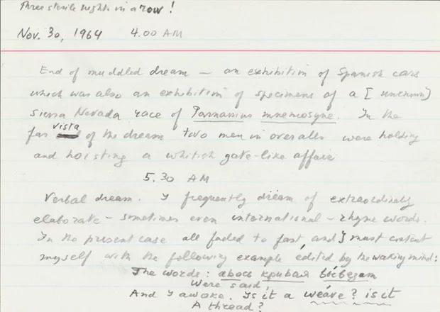 Taking note: Nabokov's Dream Diary on Index Cards