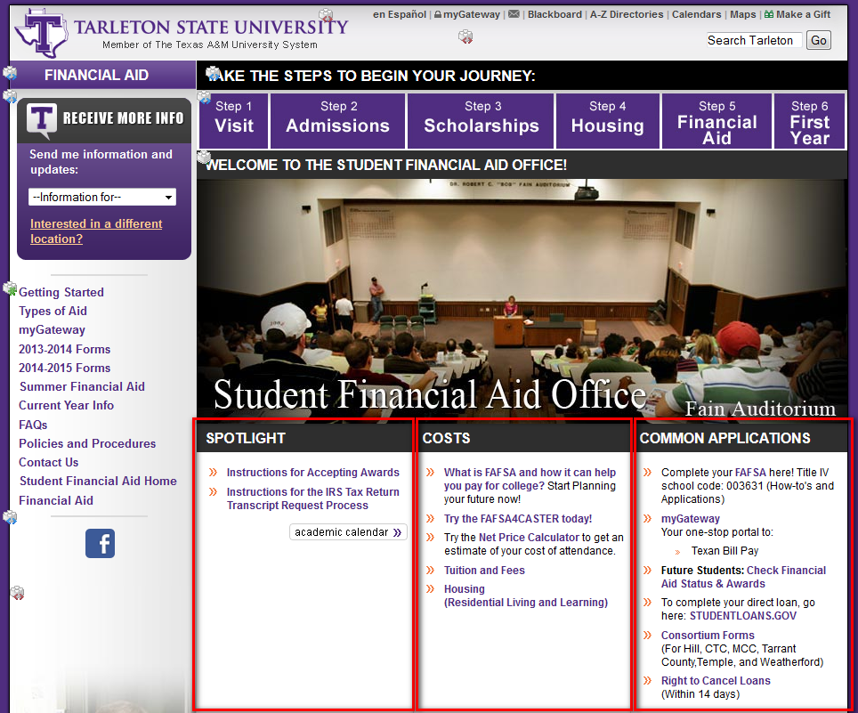 A screenshot of the Financial Aid website as seen in the Layout view of Cascade where editable regions are shown as three columns on the page.