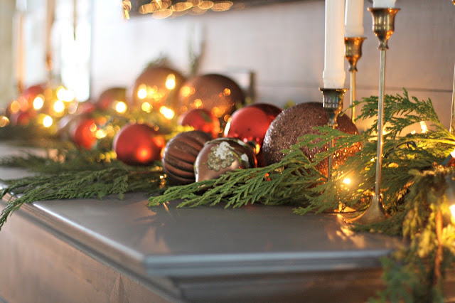 red and brown Christmas decor