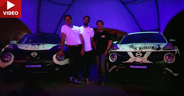Glow In The Dark Nissan Jukes Used As Canvas By Two