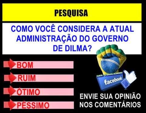 Pesquisa Pública sobre a administração do gorverno de Dilma: 1