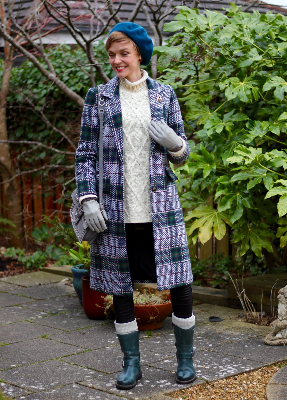 Checked coat, Aran knit, coated Jeans | Casual winter outfit | Fake Fabulous