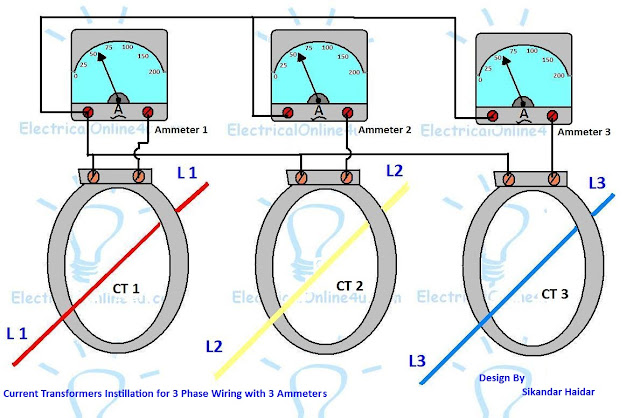 Current Transformer ammeter wiring - Ct coil wiring diagram