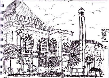 sketsa Masjid Agung Al Munawwar Tulungagung