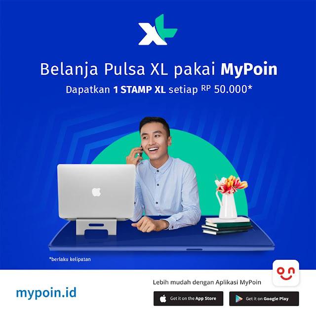 Promo Spesial Khusus Member MyPoin! Dapatkan 1 STAMP XL hanya dengan belanja pulsa atau paket data internet XL senilai Rp 50.000