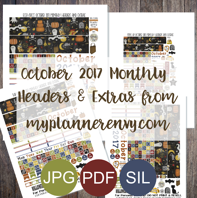 Free Printable October 2017 Monthly Headers and Extras from myplannerenvy.com