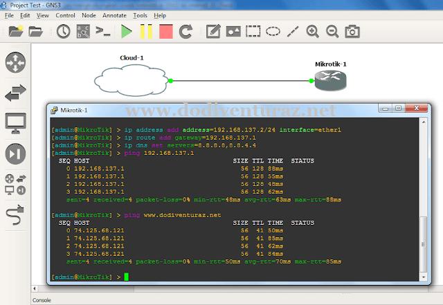 Tutorial Cara Menghubungkan Router Mikrotik di GNS3 ke Internet