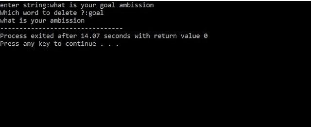 C program to delete the written word using string function