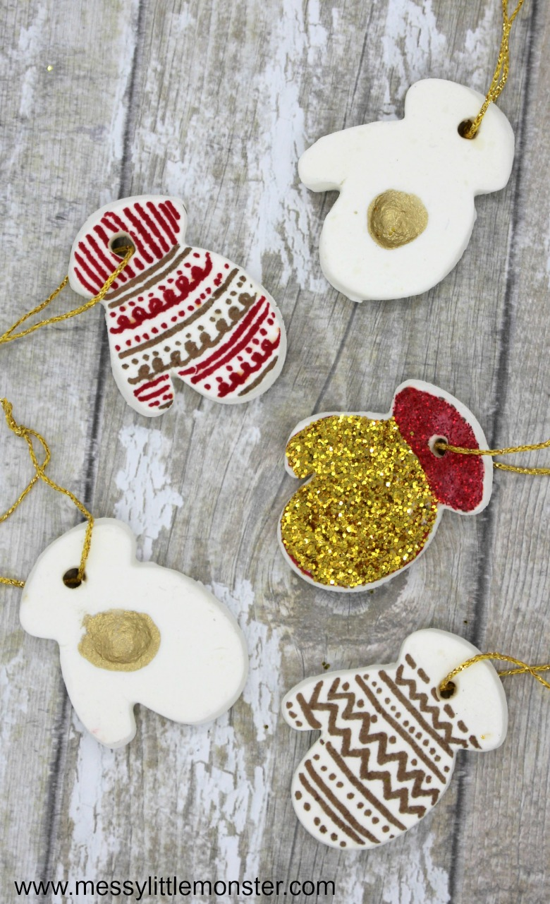 Homemade clay ornament recipe. Mitten ornaments inspired by 'The Mitten' storybook. Baking soda clay ornaments are even better than salt dough ornaments!