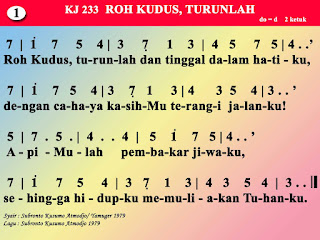Lirik dan Not Kidung Jemaat 233 Roh Kudus, Turunlah
