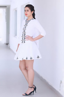 Raashi Khanna in Micro Mini Skirt by RuVya by Ruchika and Divya coupled with Steve Madden heels