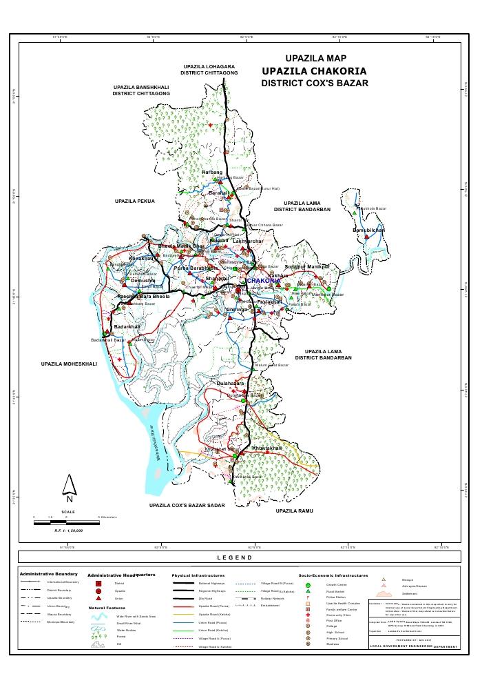 Chakaria Upazila Map Cox's Bazar District Bangladesh