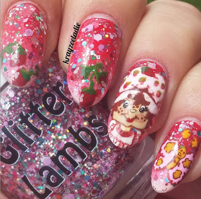 """Strawberry ShortCake"" Glitter Lambs Nail Polish Swatched by @Krayzeeladie"