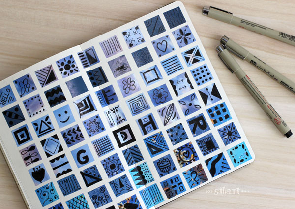 Sketchbook pattern blue squares