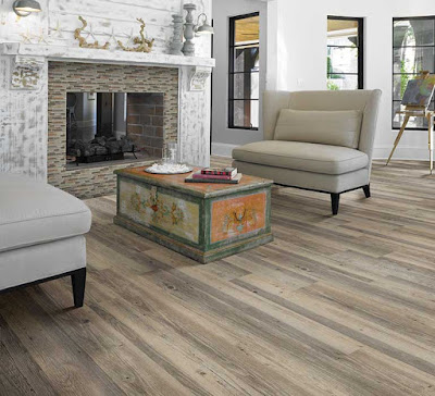 This floor looks like wood but it's really a type of enhanced composite flooring - beautiful and practical!