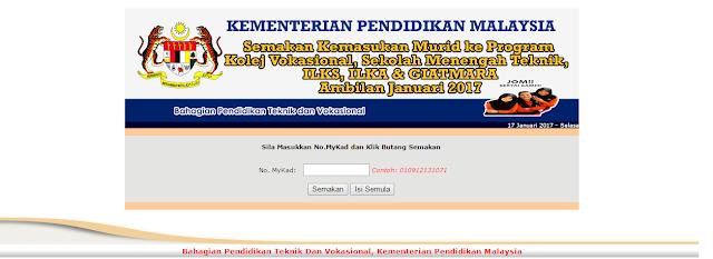 Kemasukan Tawaran Ke Program KV, SMT, ILKA , ILKS Dan Giatmara Ambilan Januari 2017