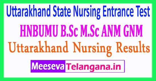Uttarakhand State Nursing Entrance Test HNBUMU B.Sc M.Sc ANM GNM Results 2018