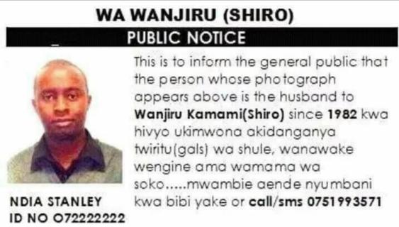 Kenyan woman puts up photo of cheating husband on a national newspaper