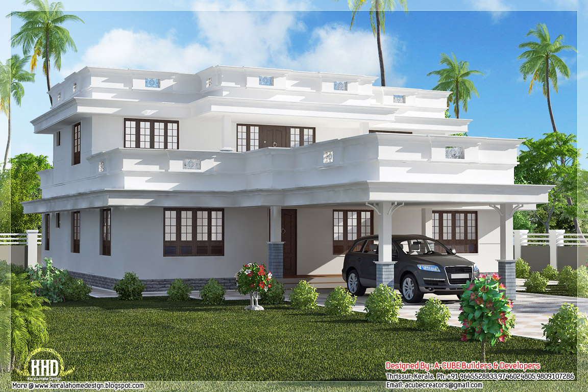 Flat Roof Home Design With 4 Bedroom Appliance