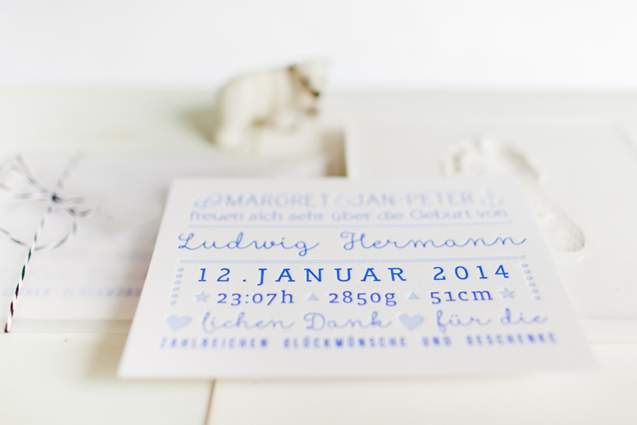 Letterpress birth announcement Geburtstag Buchdruck poule folle stuttgart