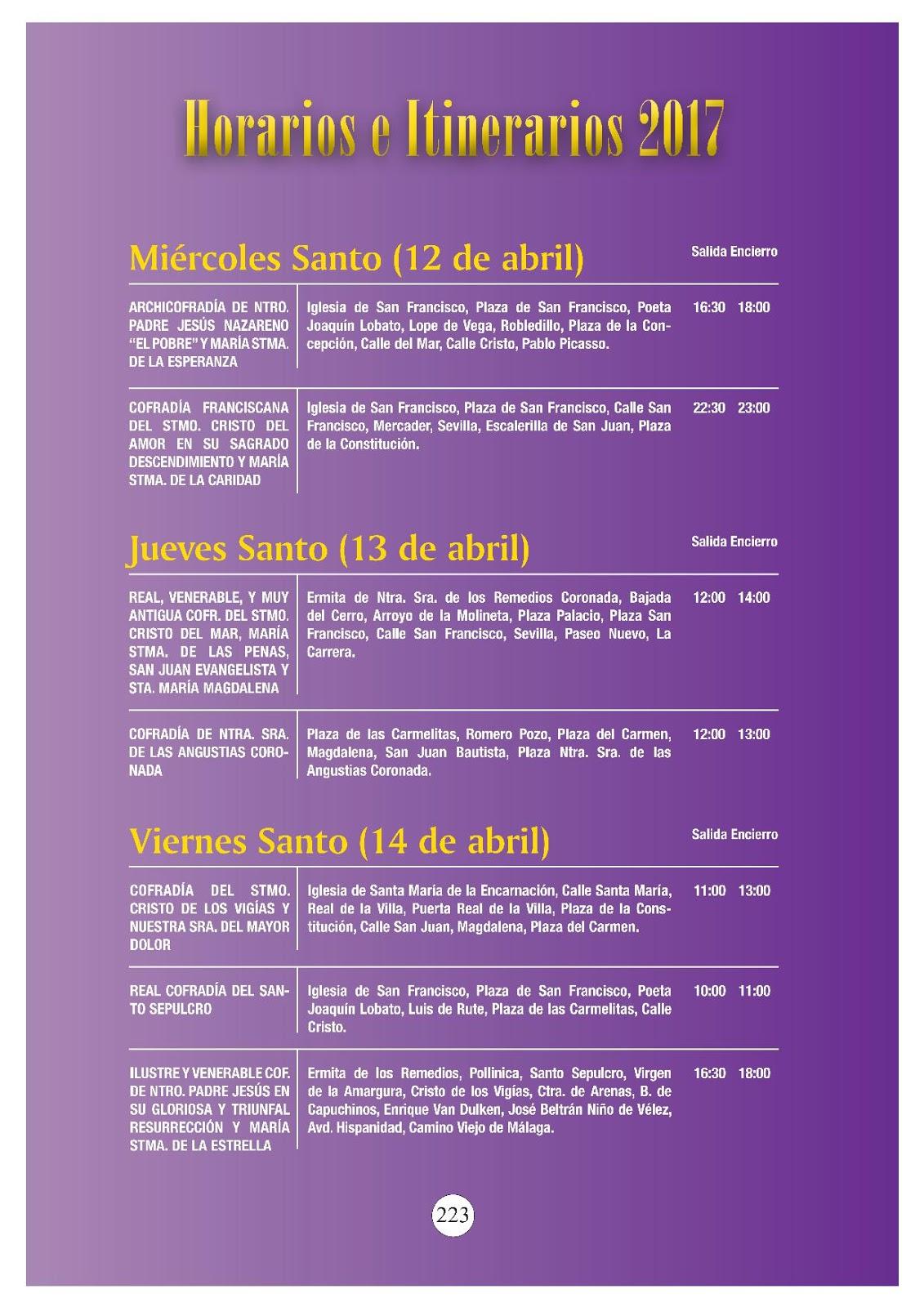 Programa horario e itinerario semana santa v lez m laga for Horario oficina correos malaga