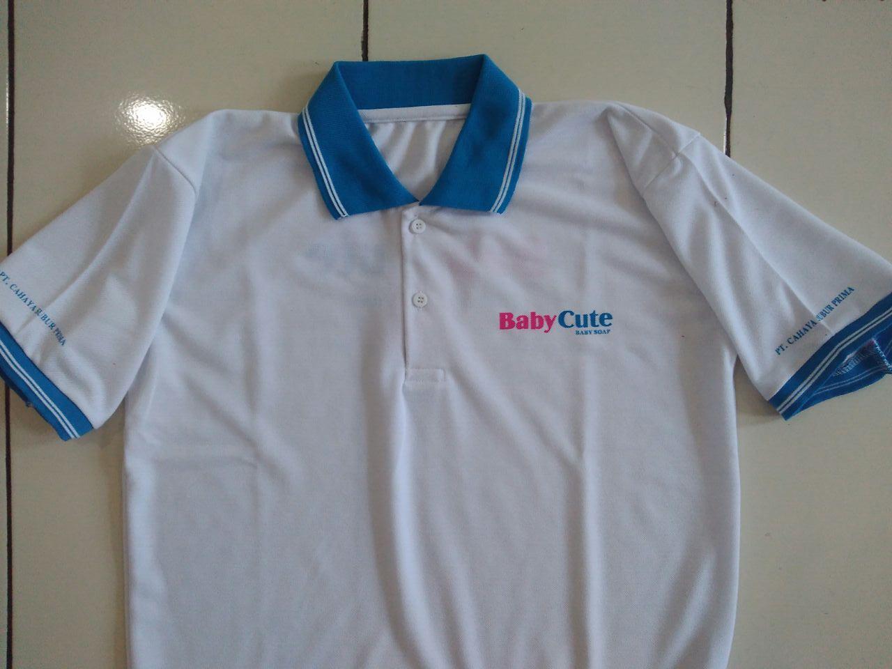 Kaos putih berkerah sablon 1warna 1sisi (Tanpa Manset). Polo Shirt ... 5cef9d3f28