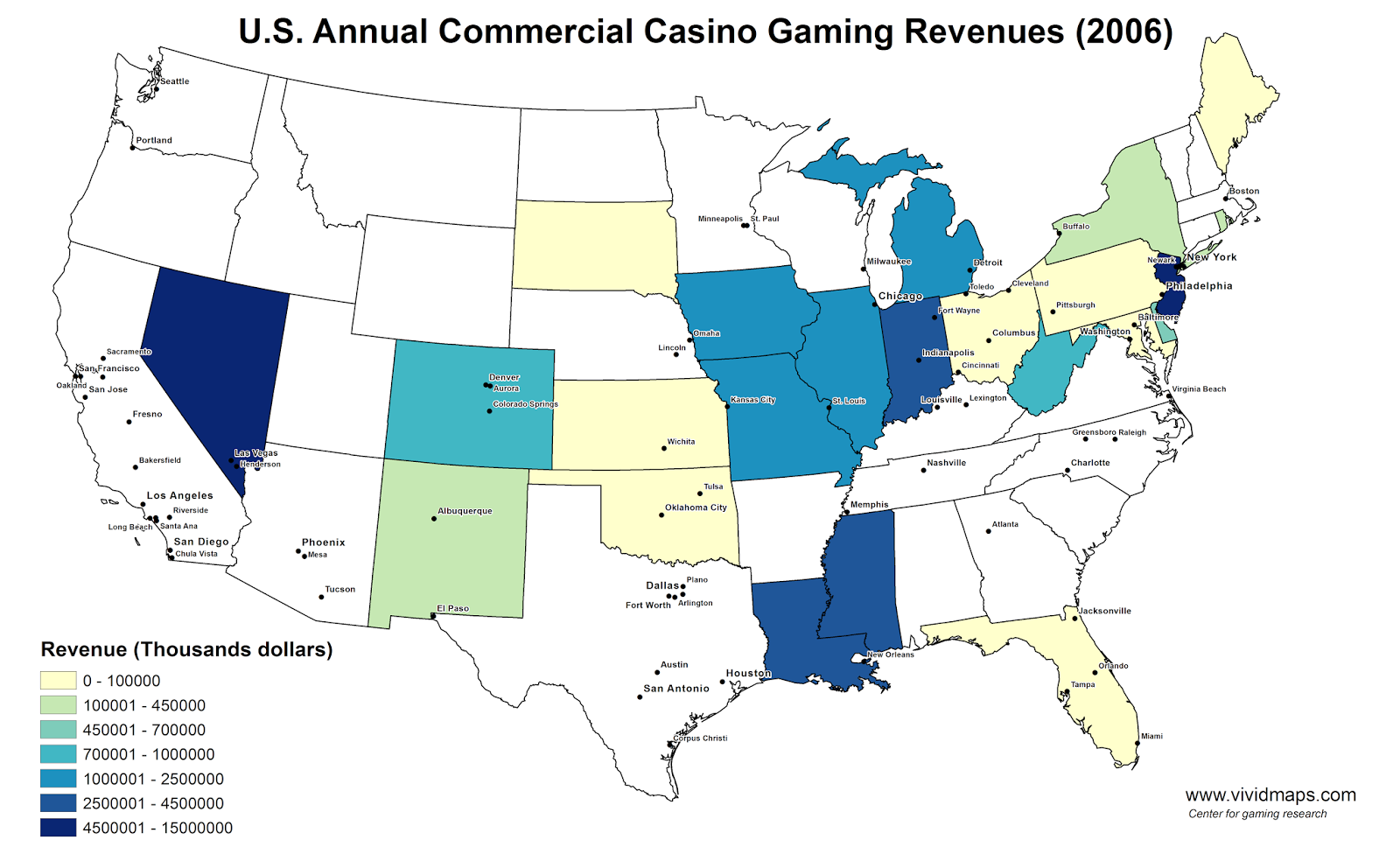 U.S. Annual Commercial Casino Gaming Revenues (2006)