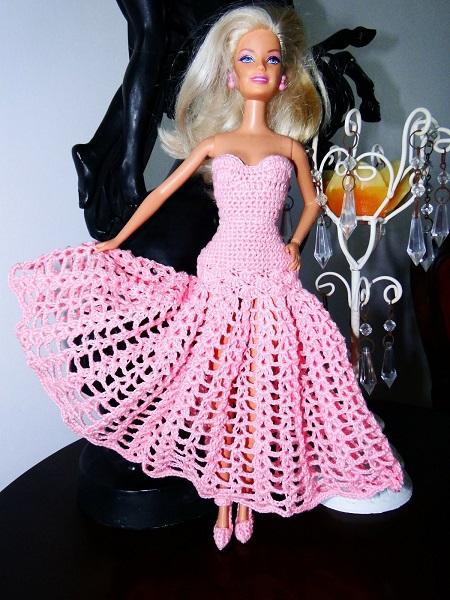 Vestido Longo de Crochê Para a Barbie - Por Pecunia MillioM 1