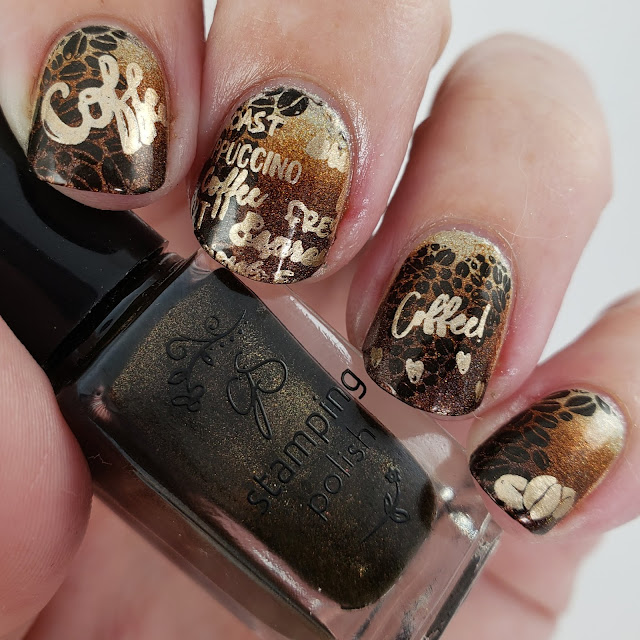 coffee nails, indie nails, nail art, coffee, coffee beans, nail art stamping, clear jelly stamper, superchic lacquer, nailstuffca