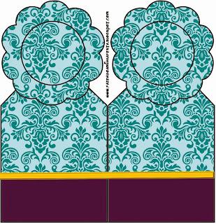 Marcapaginas para Imprimir Gratis de Arabescos Azules.
