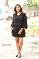 Actress Hebah Patel Stills in Black Mini Dress at Angel Movie Teaser Launch  0005.JPG