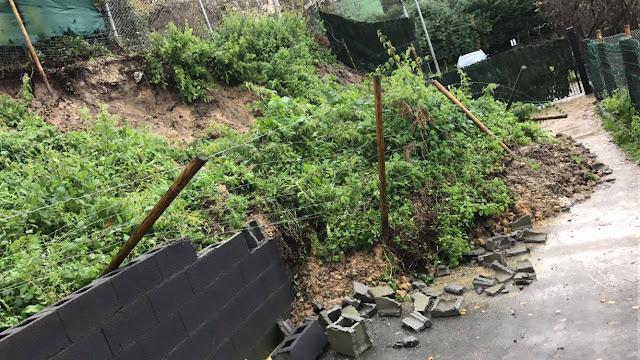 Desprendimiento causado por el atasco de la tubería de pluviales