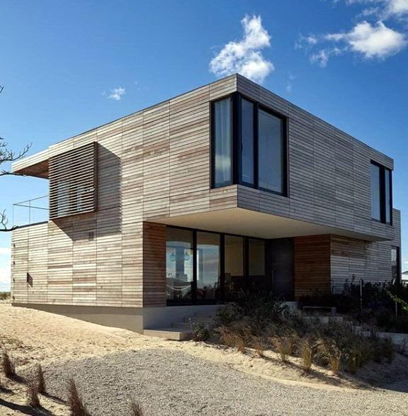 rumah minimalis kotak atap datar lapis kayu sintesis