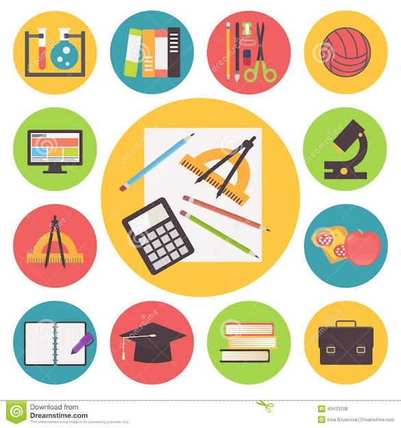 Back To School Vector Icons Set Flat Design