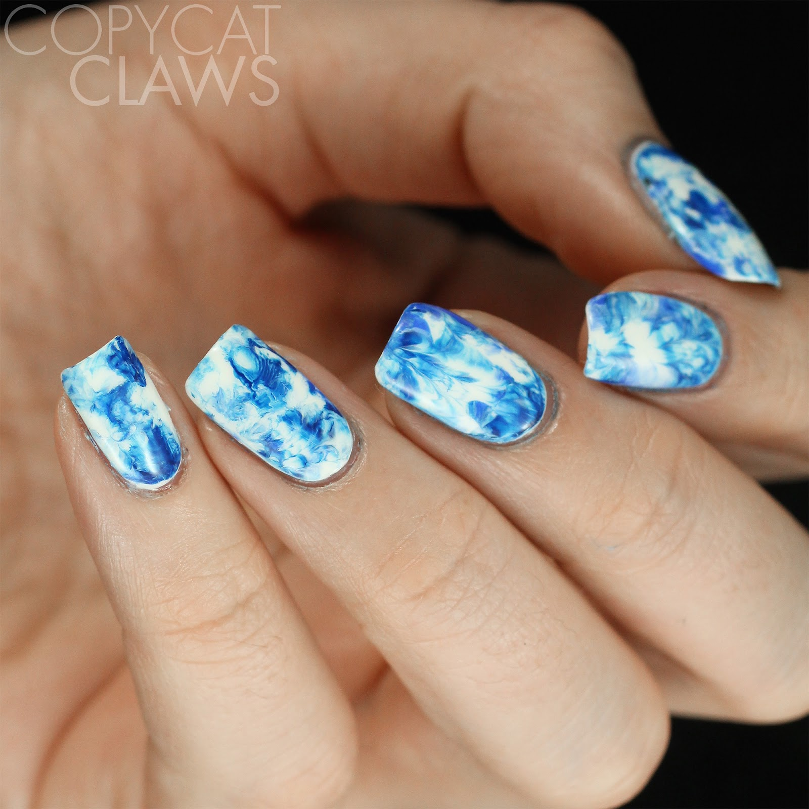 Copycat Claws Blue Color Block Nail Art: Copycat Claws: Nail Crazies Unite: Blue & White