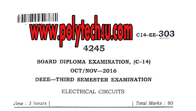 ELECTRICAL CIRCUITS PREVIOUS YEAR QUESTION PAPER C-14 DEEE