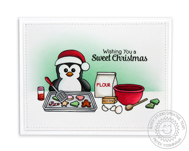 Sunny Studio Stamps: Holiday Penguin Christmas Card (using Blissful Baking & Mug Hugs)