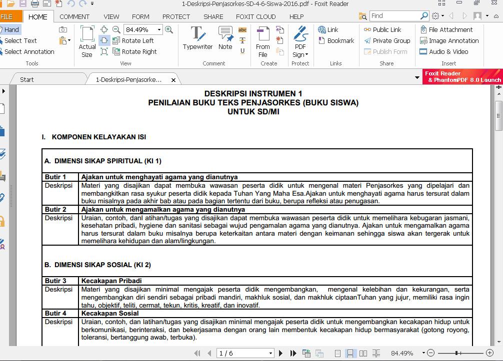 Download Deskripsi Instrumen 1 Penilaian Buku Teks Penjasorkes (Buku Siswa) SD/MI Format PDF