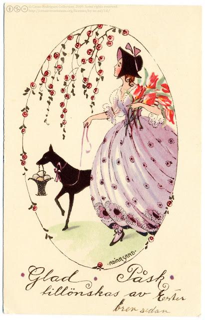 Femme, carte ancienne pour décoration