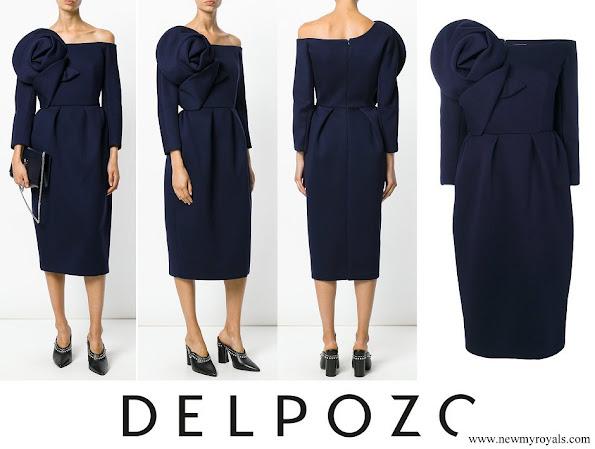 Queen Letizia wore a flower-detail one-shoulder pencil dress by Delpozo