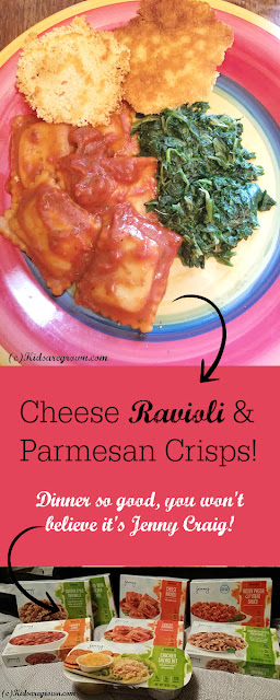 Jenny Craig Cheese Ravioli Dinner with Parmesan Crisps. Now at Walmart!