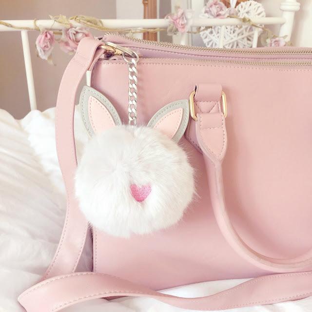 Fluffy Bunny Rabbit Pom Pom Keyring | Asos