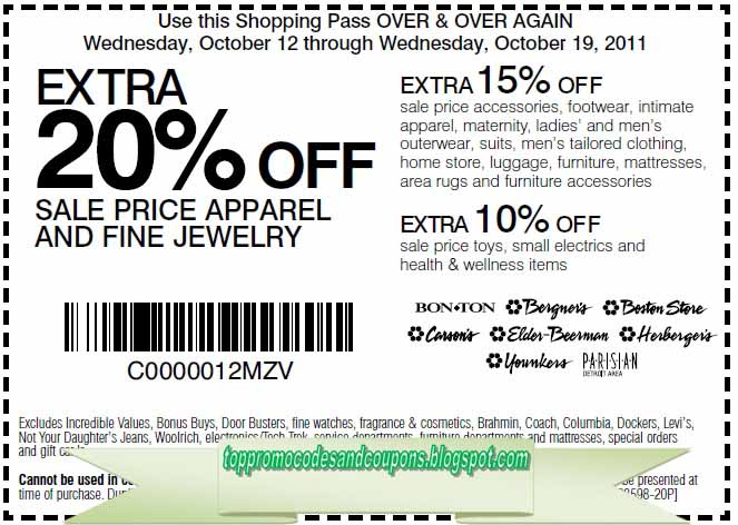graphic about Bergners Printable Coupons known as Absolutely free Promo Codes and Discount coupons 2019: Carson Pirie Scott Discount codes