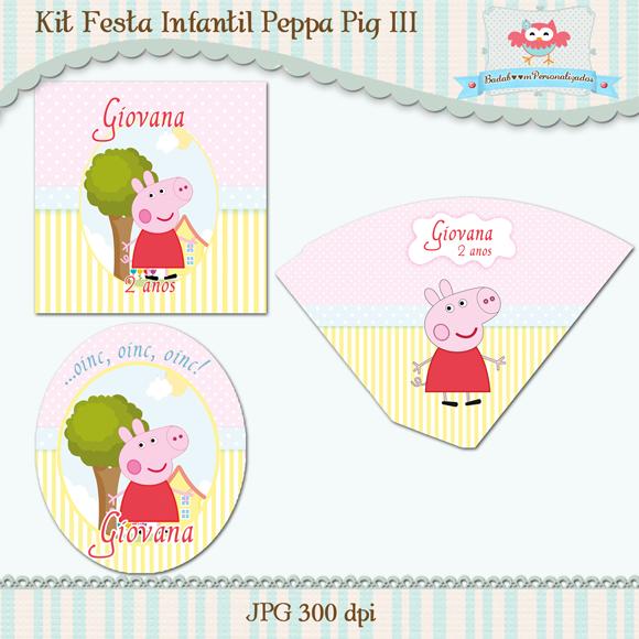 Kit de artes digitais para festa infantil Peppa Pig III