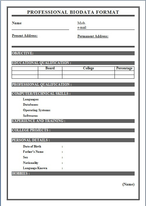 Biodata Format For Job Application - Download Sample Biodata Form