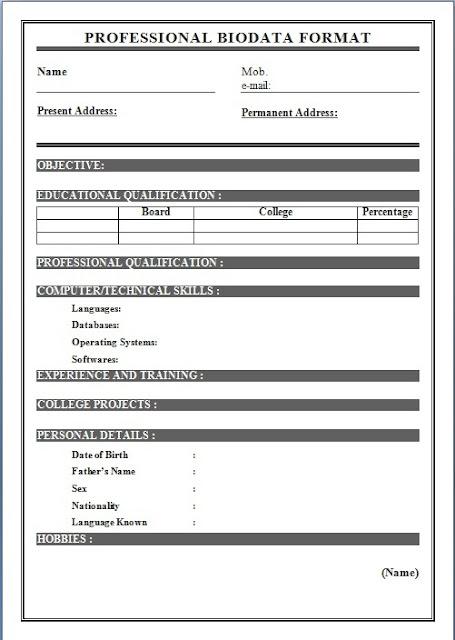 Biodata Format For Job Application Download Sample
